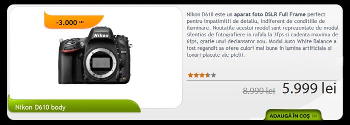 "Promotie Nikon D610 ""ora F64"""