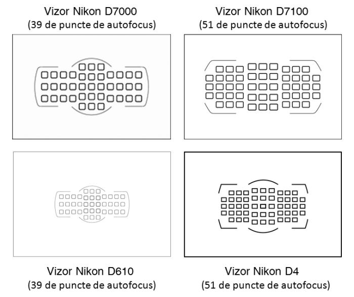 Comparatie puncte autofocus Nikon D7000 D7100 D4 D610