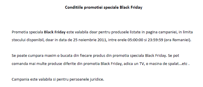Regulament campanie Black Friday 2011