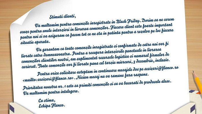 Flanco scuze intarziere livrare Black Friday 2014