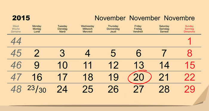 Calendar Black Friday 2015