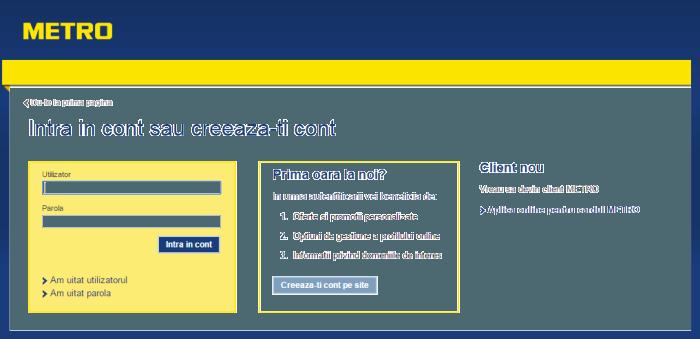 Cont client Metro online