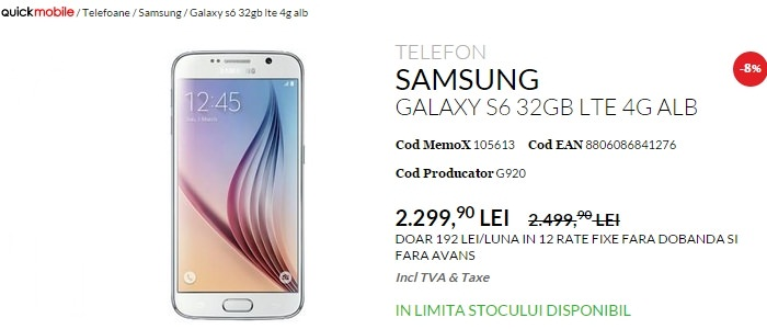 Oferta Samsung Galaxy S6 Quick Mobile
