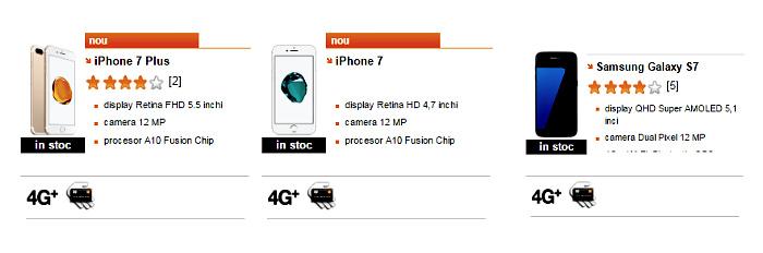 iPhone7 si 7 Plus, Samsung Galaxy S7 la Orange