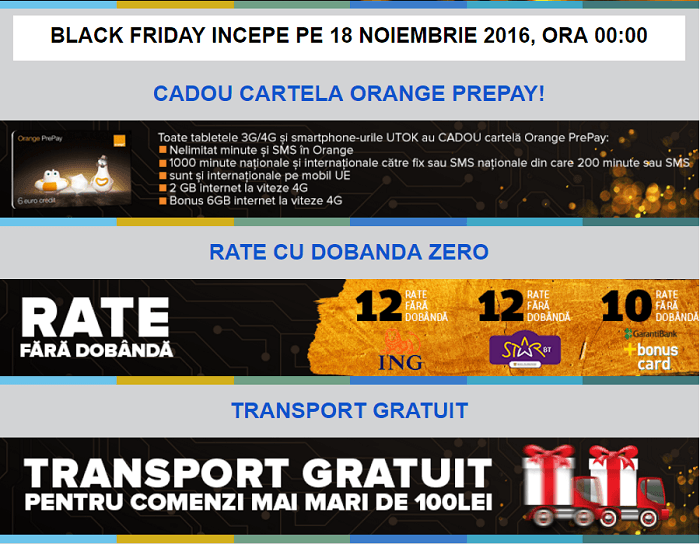 Promotii UTOK Black Friday 2016