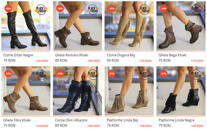 Cizme, ghete, botine, Black Friday 2016 la dEpurtat