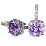 Cercei Borealy Sapphire 3 carate Lilac placati cu aur alb