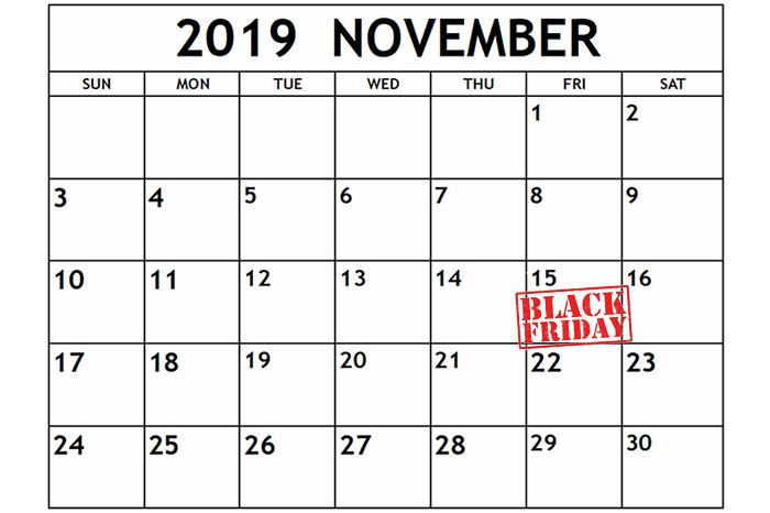 Calendar Black Friday 2019