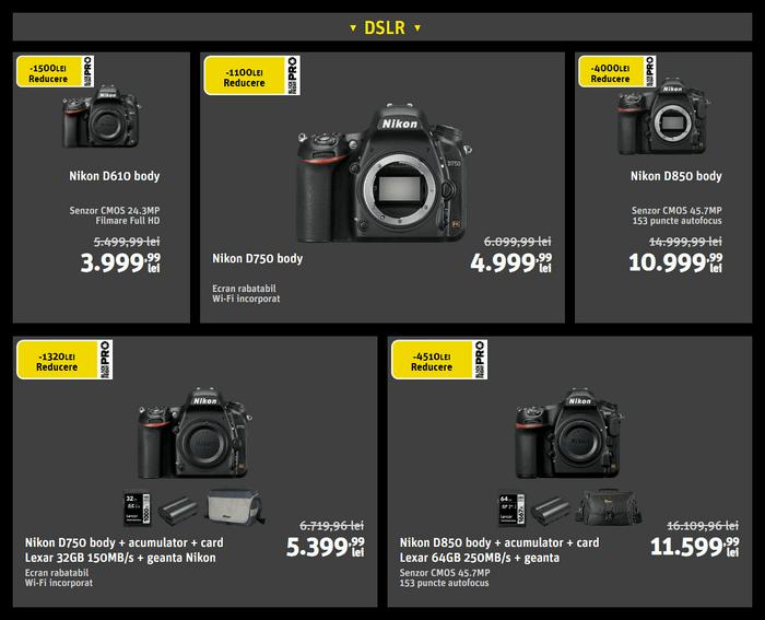 Oferte aparate foto DSLR Nikon de Black Friday PRO 2019 la YellowStore