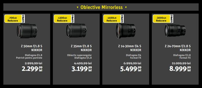 Oferte obiective foto mirrorless Nikon de Black Friday PRO 2019 la YellowStore