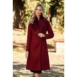 Palton LaDonna vișiniu elegant cu guler din blană