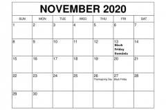 calendar luna noiembrie 2020