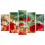 Set 5 tablouri Poppy Field 110 x 60 cm brand Charm