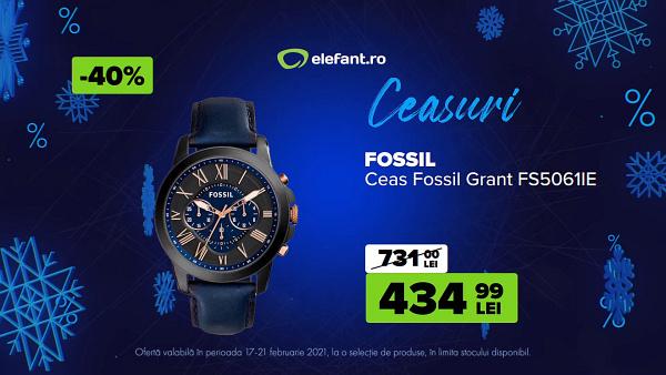 oferta ceas Fossil Elefant Black Friday iarna 2021
